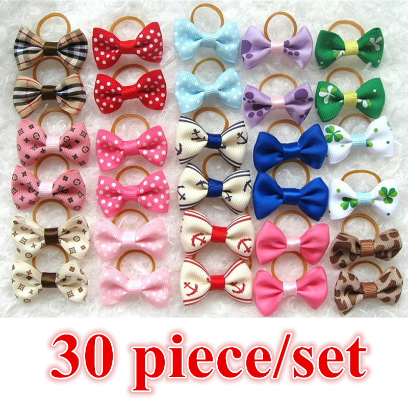 30 piece/Lot Classic Pet Bows For Cats Dog Hairpin Headdress Dog Rubber Band Dog Hair Bows Dog Headdress Pet Accessories PY936(China (Mainland))