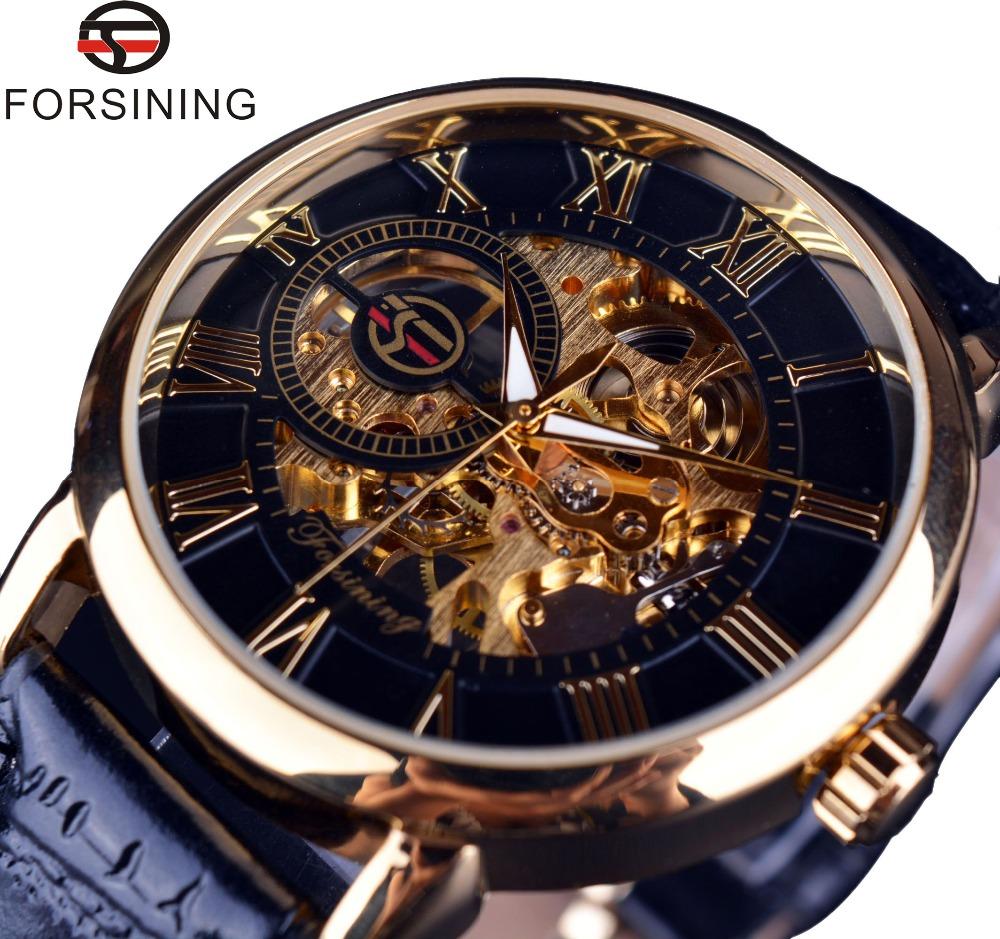 Forsining 3d Logo Design Hollow Engraving Black Gold Case Leather Skeleton Mechanical Watches Men Luxury Brand Heren Horloge(China (Mainland))