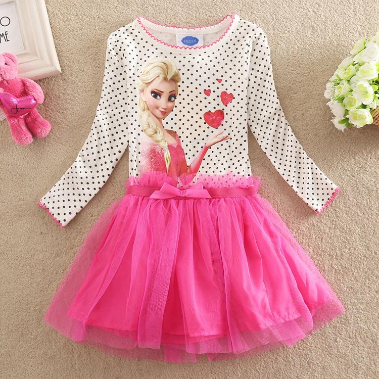 2015 summer girls dress girls cartoon anna cosplay dresses color cute princess dress girls baby dress 3~7 years(China (Mainland))