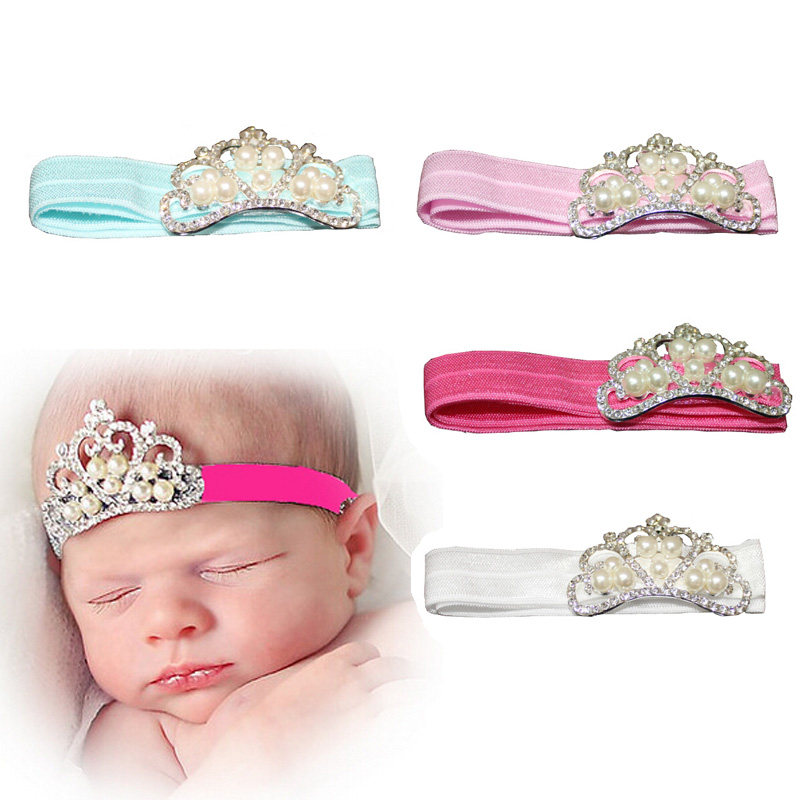 Spring Pearl Crown Princess Baby Girl Headband Hair Band Headwear Accessories Free Shipping(China (Mainland))
