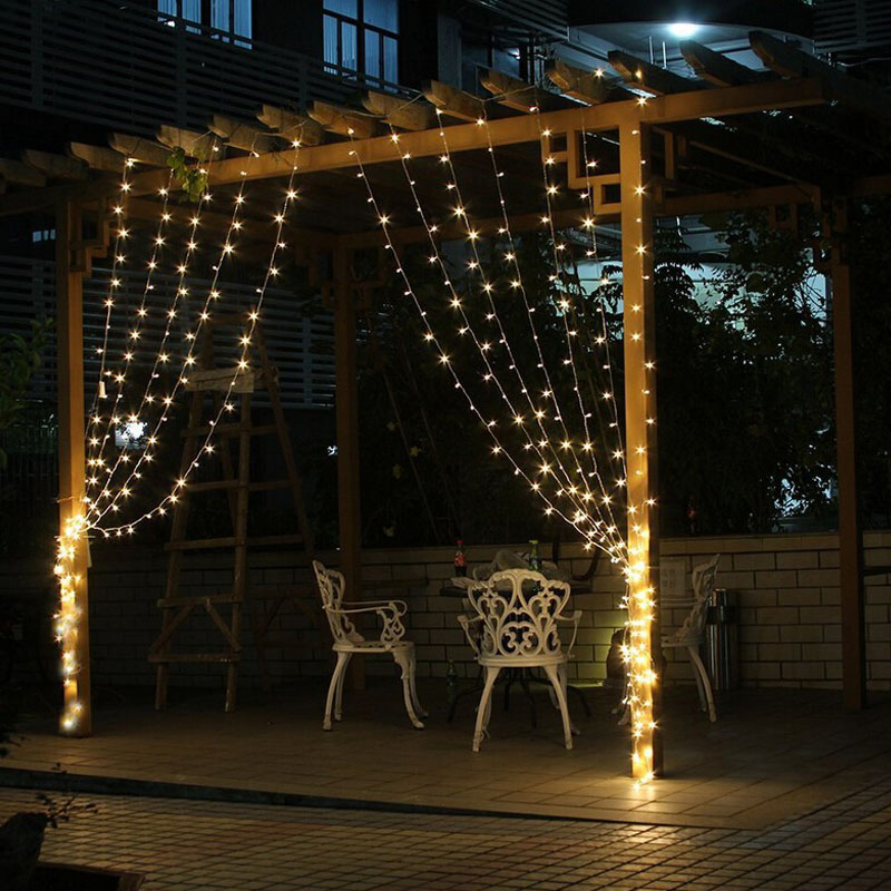 Outdoor Holiday String Lights : 3Mx3M 300 LED Outdoor Holiday Lighting Christmas Decorative xmas Curtain String Fairy Garlands ...