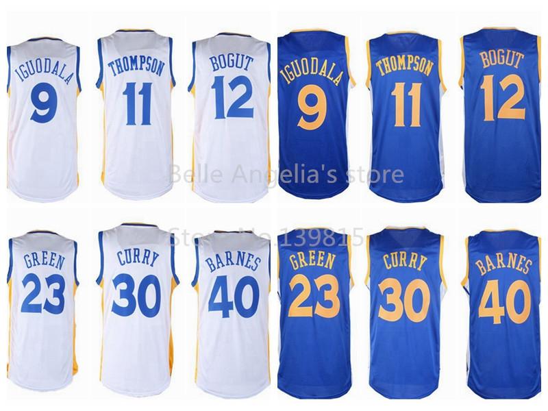 The Final Logo On Back ,Golden State Stephen Curry Thompson Iguodala Green Bogut Barnes White Blue Basketball Jersey,Size:S-XXL(China (Mainland))