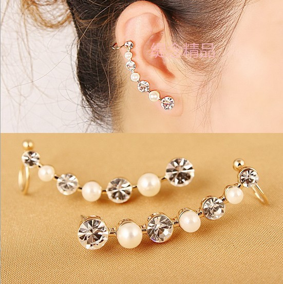 Newest Arrival Gold Plated fashion pearl crystal earring clip pop sell pierced U shape clip earring ear cuff free shipping(China (Mainland))