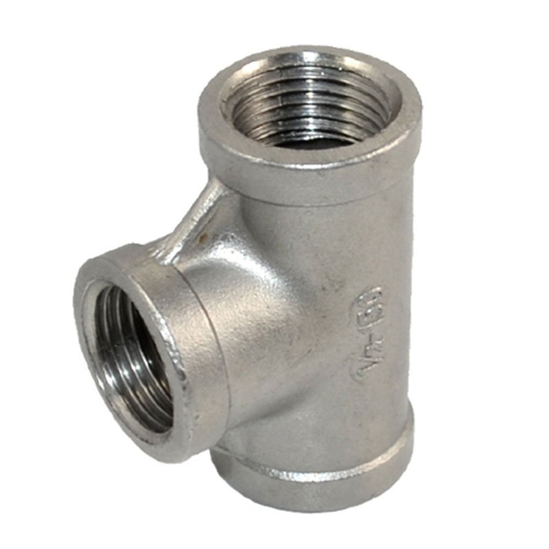 "High Quality 1 PC New 1/2"" Tee 3 way Female Stainless Steel 304 Threaded Pipe Fitting NPT SA529 P50(China (Mainland))"