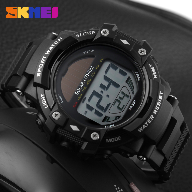 2016 New SKMEI Trendy Brand Men Military Sports Watches Fashion Digital LED Solar Power Mens Wristwatches Horloge(China (Mainland))