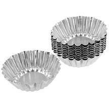 Summer Shop! Amico Silver Tone Aluminum Egg Tart Mold Mould Makers 10 Pcs(China (Mainland))