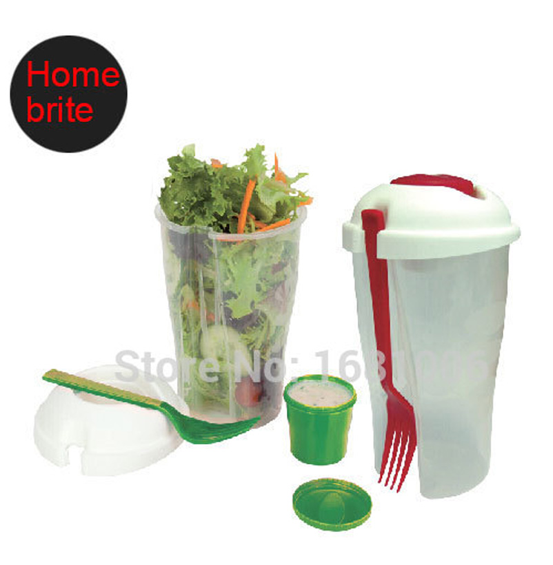 Salad To Go Cup with fork & dressing bowl,26 OZ,keeps salads fresh,lightweight,suit fruit vegetable,BPA free K025(China (Mainland))