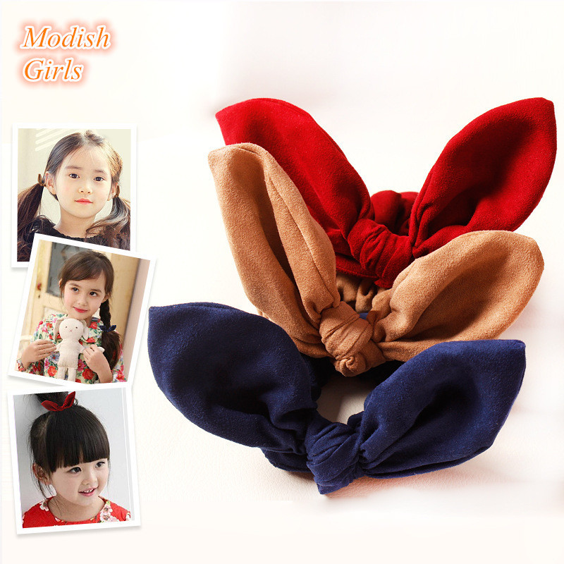 20pcs/lot Kids Red Christmas Elastic Hair Bands Autumn and Winter Style Hair TiesRabbit Ears Top quality Hairband for Baby Girls(China (Mainland))