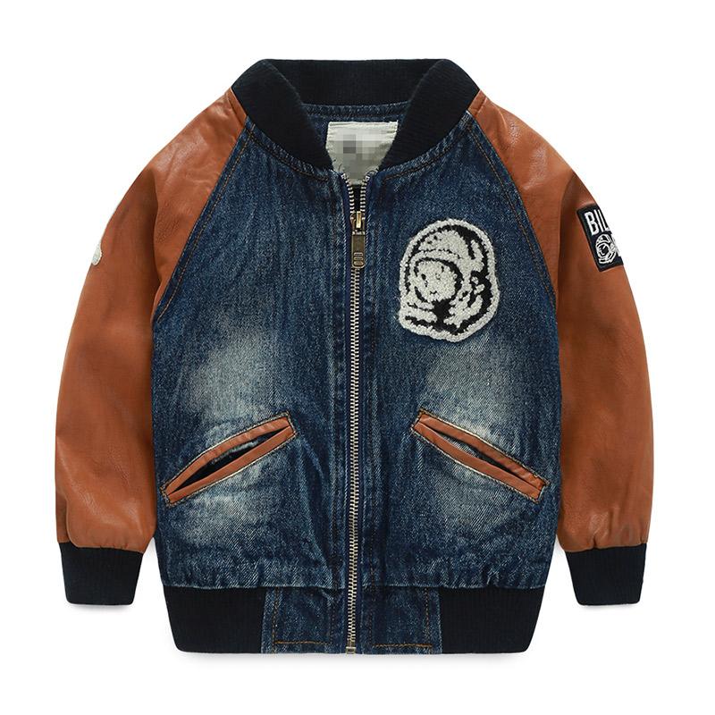 Здесь можно купить  2015 autumn new fashion little boys PU patchwork styles letters print coats long sleeve warm outerwear     WT-4757  Детские товары