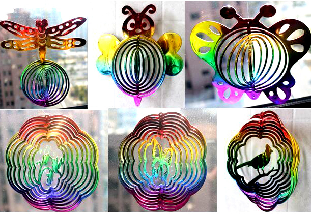 hyper splash wind spinner 3D garden suncatcher butterfly bee dragonfly wind twister gyroscope to refract sunshine 4pcs/lot(China (Mainland))