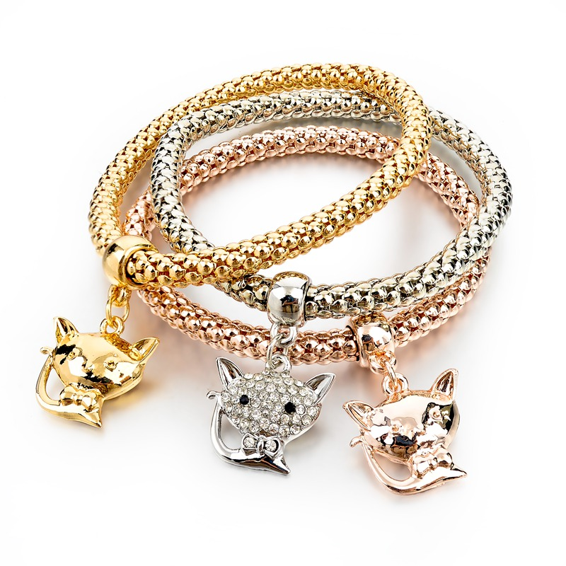 Gold-Silver Plated Bracelets with Fox Charmes
