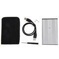 Silver USB 2 0 2 5 Inch SATA HDD Enclosure External HDD Case Tool Free