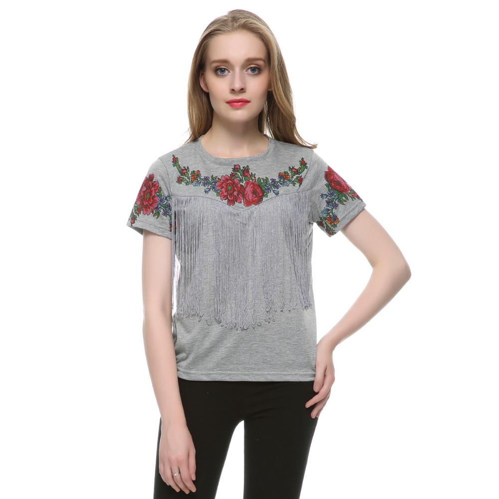 Women tassel floral print T shirt vintage red rose blouse O neck short sleeve shirts blusa feminina casual slim brand tops DT42(China (Mainland))