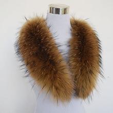 Hot ! 80cm Large True 100% Raccoon Fur Collar Real Genuine Collar Fur Scarf Shawl Wrap Great QS-103(China (Mainland))