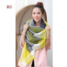 Za winter oversize plaid new designer blanket unisex acrylic wrap cashmere scarf shawl pashmina for spring fall 140x140CM(China (Mainland))