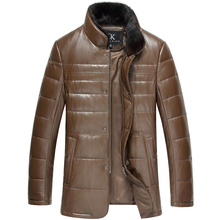 Down leather jacket Brand 2015 High quality sheepskin Winter male coats Designer Black/Brown Clothing 14N603(China (Mainland))
