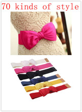 Free Shipping 2013 Most Fashion Women 6 Candy Colors Chiffon Bow Belts All-match Wide Stretch Waist Elastic Cummerbund JP121401