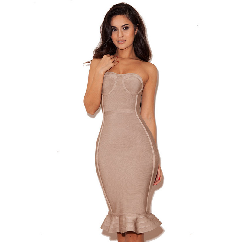 Women Bandage Dress Strapless Knee-Length Dress Sexy Club Bodycon Dress Vestidos De Fiesta Robe Femme(China (Mainland))