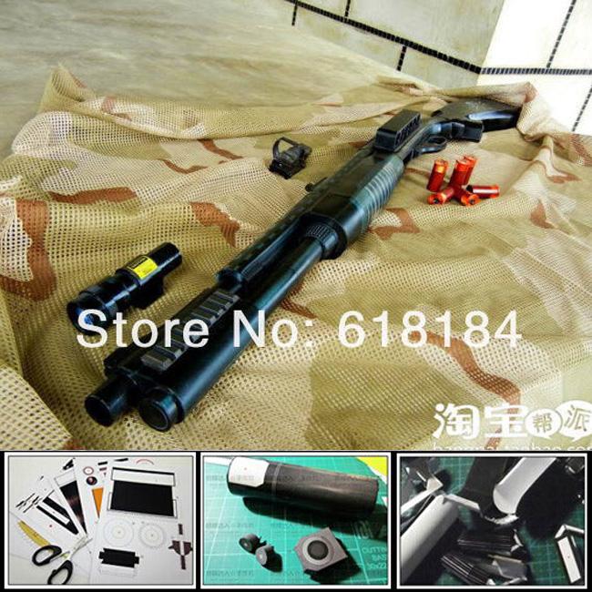 Free shipping Paper Model Gun Magazine Ver Remington M870 shotgun 1:1 scale Weapons 3d puzzles for boys/diy educational craft(China (Mainland))