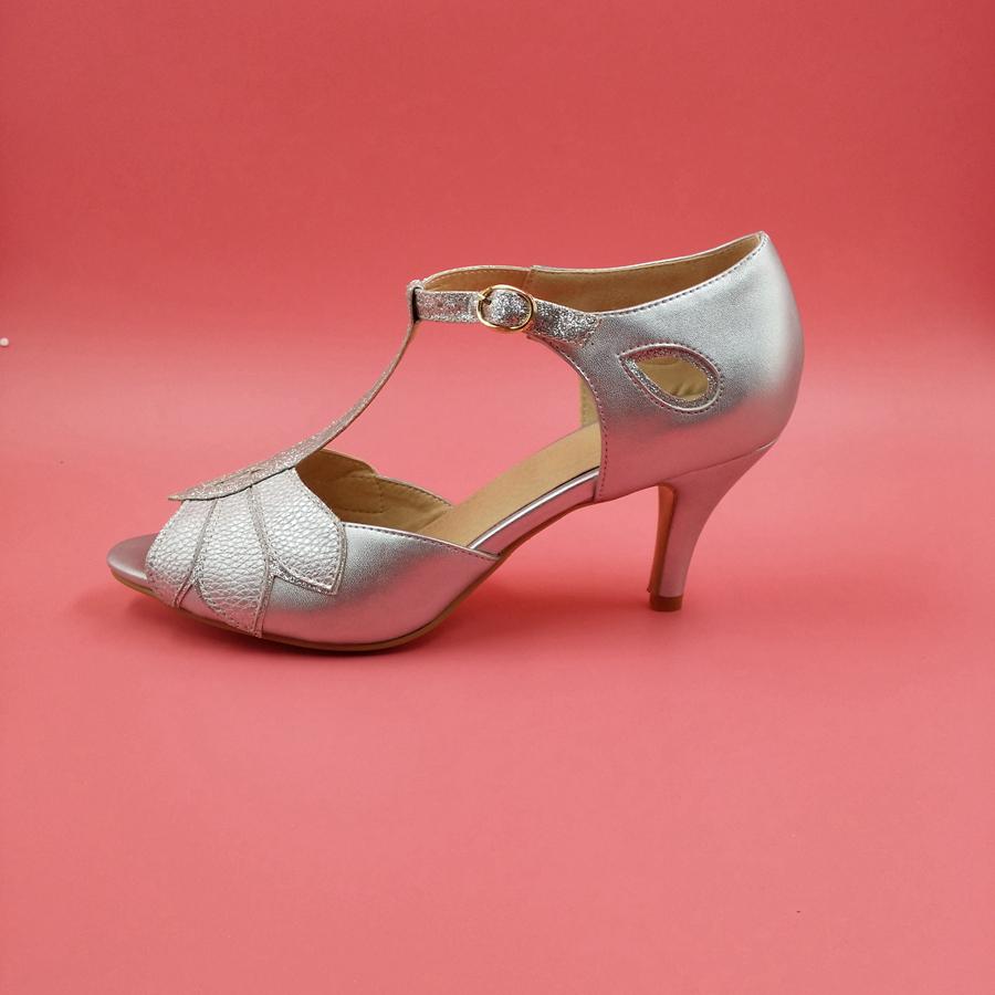 Фотография Silver Wedding Sandal For Women High Heels Stilettos T-strap Custom Size US4-14 Ladies Shoes Sandalias Rasteiras Femininas