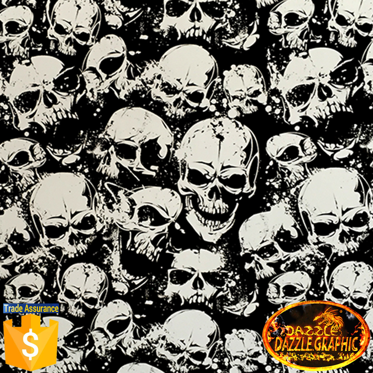 New Arrival Hydrographic Film No.DGDAD043 Dazzle Graphic Width 0.5M Length 20M Skull Heads Pattern Water Transfer Printing Film(China (Mainland))