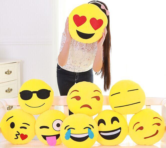 2015 Hot Soft Cushion Emoji Pillow Smile Circle Shape Yellow Facial Expression Cartoon Cute Lovely Plush Cushions Toy Doll Gifts(China (Mainland))