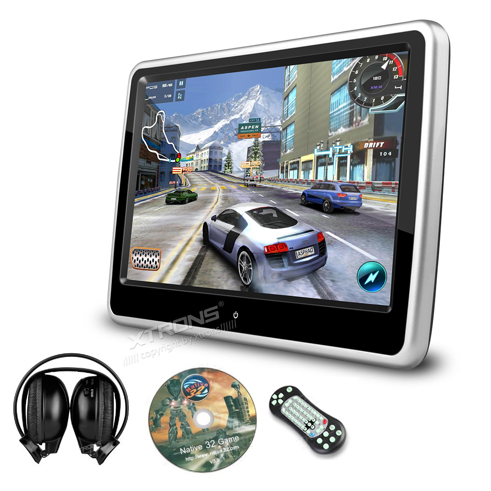 """10.1"""" Auto Portable Monitor Car Headrest DVD Player 1024*600 Ultra-thin Touch Screen Game Removable Audio USB SD CD IR FM Pillow(China (Mainland))"""