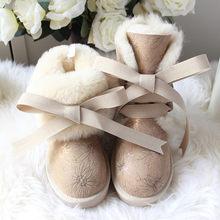 G & Zaco Kış Koyun Derisi Kar Botları Dantel Çapraz Doğal Yün Gerçek Deri Su Geçirmez Orta Yay Sıcak Pamuk Çizmeler kadın ayakkabısı(China)