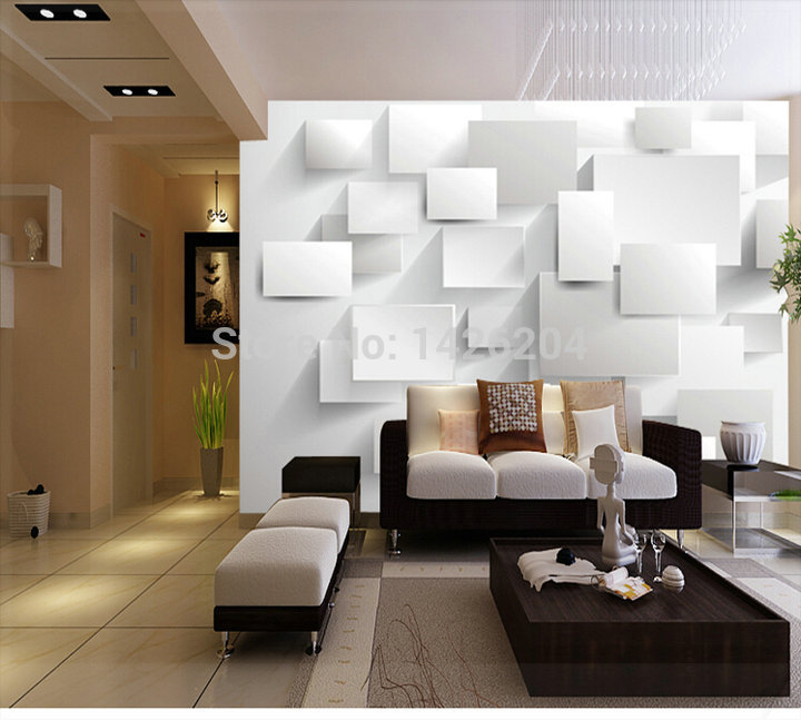 Great wall 3d large wall murals for living room rose for Living room 3d tiles