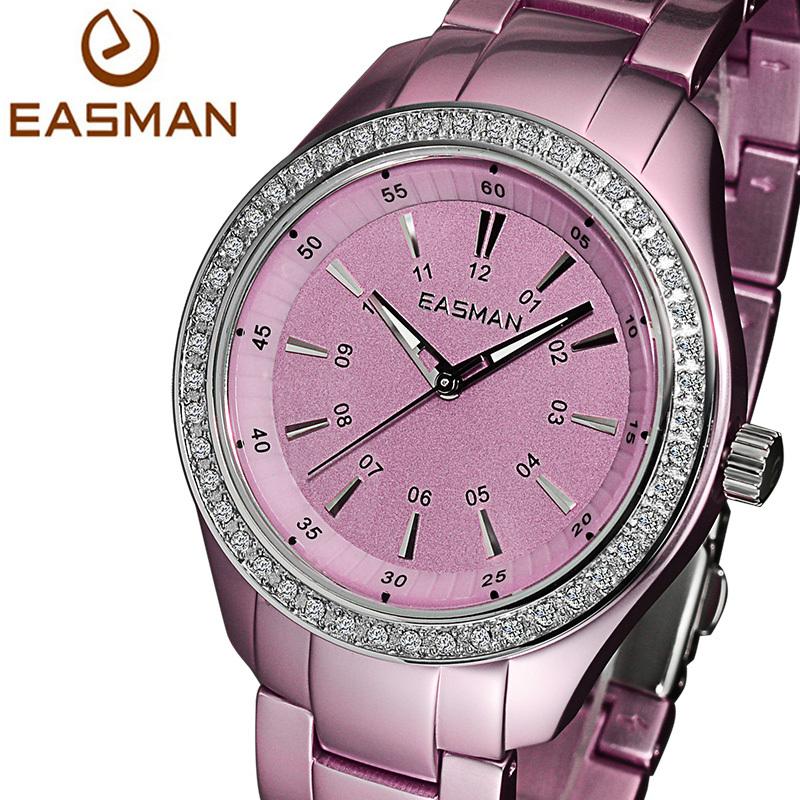 EASMAN Watch Women Purple Pink Ultralight Titanium Aluminum Quartz Watches Zircon Gems Water Resistant Wristwatches Watches(China (Mainland))