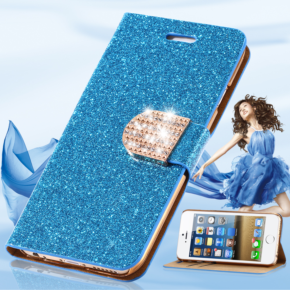 S6/ S6 Edge Glitter Bling Rhinestone Diamond Luxury Flip Case Leather Wallet Stand Cover for Samsung Galaxy S6 G9200 / s6 Edge(China (Mainland))