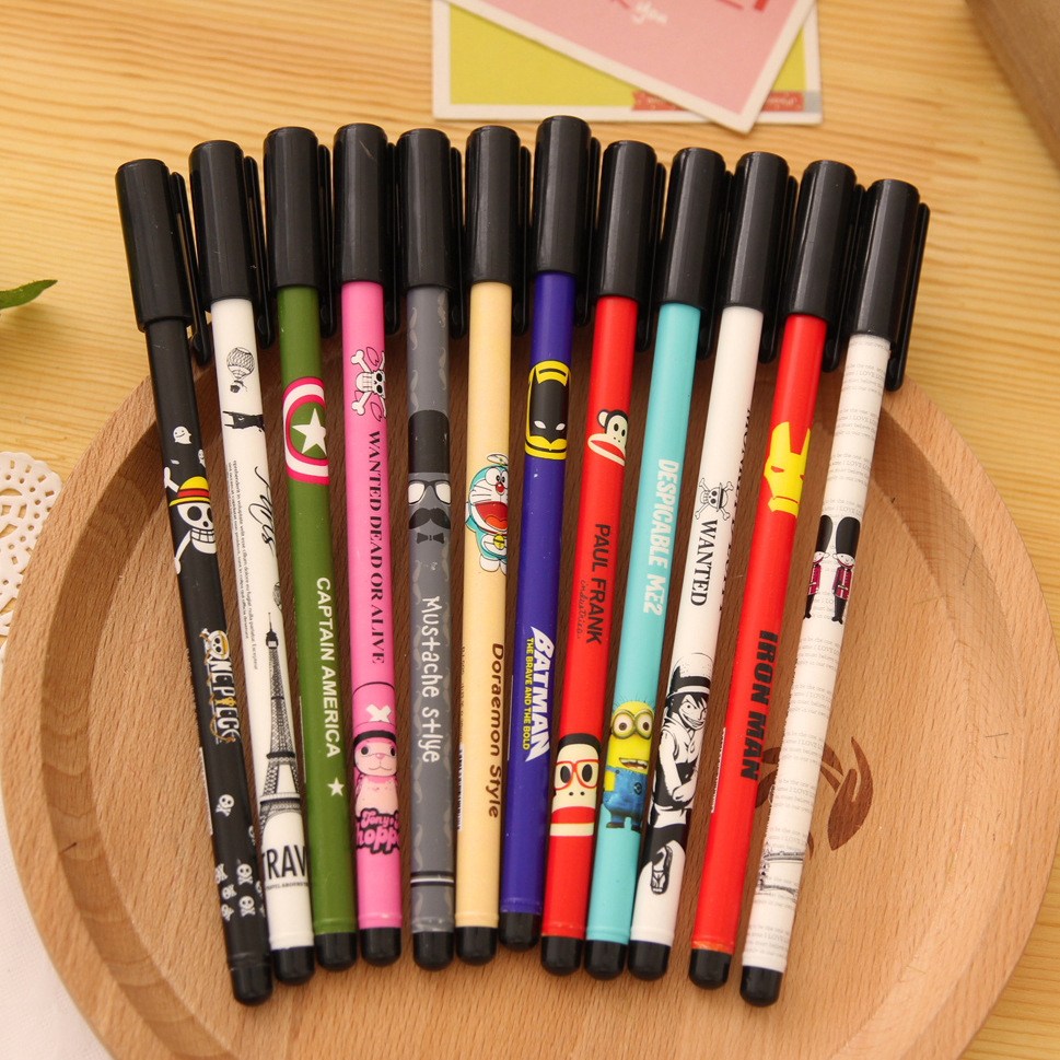 12 pcs/Lot Cartoon printing gel pens Black ink pen Cute Stationery zakka office accessories school supplies material escolar(China (Mainland))