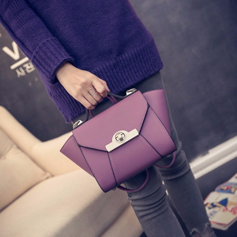 Exquisite Trapezoidal Hand Bag Women Stylish Patchwork Black Handbag Ladies Sweet Style Fashion PU Leather Shoulder Bag