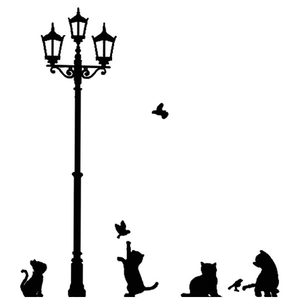 New Decor Wall Stickers Street Lamp Post with Cute Cats Birds Adorable Decoration(China (Mainland))