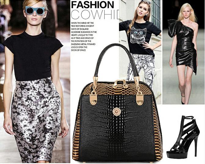 2015 new Women Business and OL handbags Genuine leather bags Alligator handbag Lady shoulder bag Free shipping(China (Mainland))