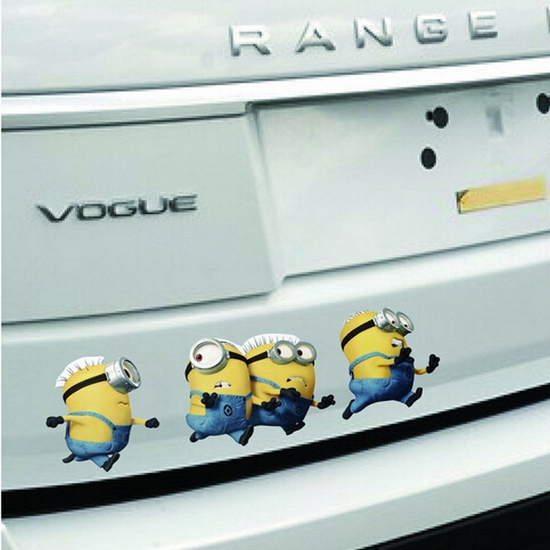 Car Accessories 1 set / Despicable Me small Yellow People Car Sticker Volkswagen Tail Cartoon Glue Stickers 1 Set/Lot(China (Mainland))