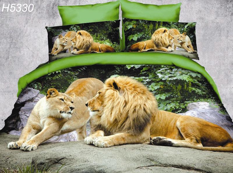 High Definition digital 3D bedding set animal 3d comforter cover lions couple 3d bed set 3d lion lovers bedclothes 5330(China (Mainland))