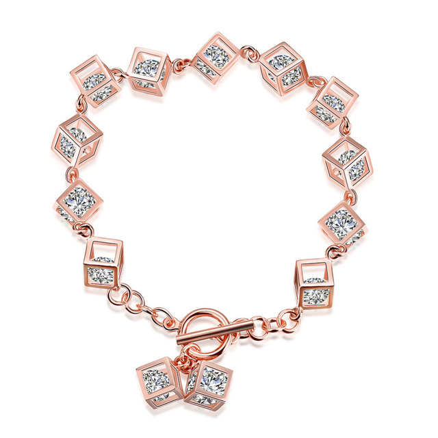 Новый горячая распродажа оригинальный стерлингового серебра - серебристо-ювелирные позолоченные асфальтовая CZ камни кубики шарм браслеты