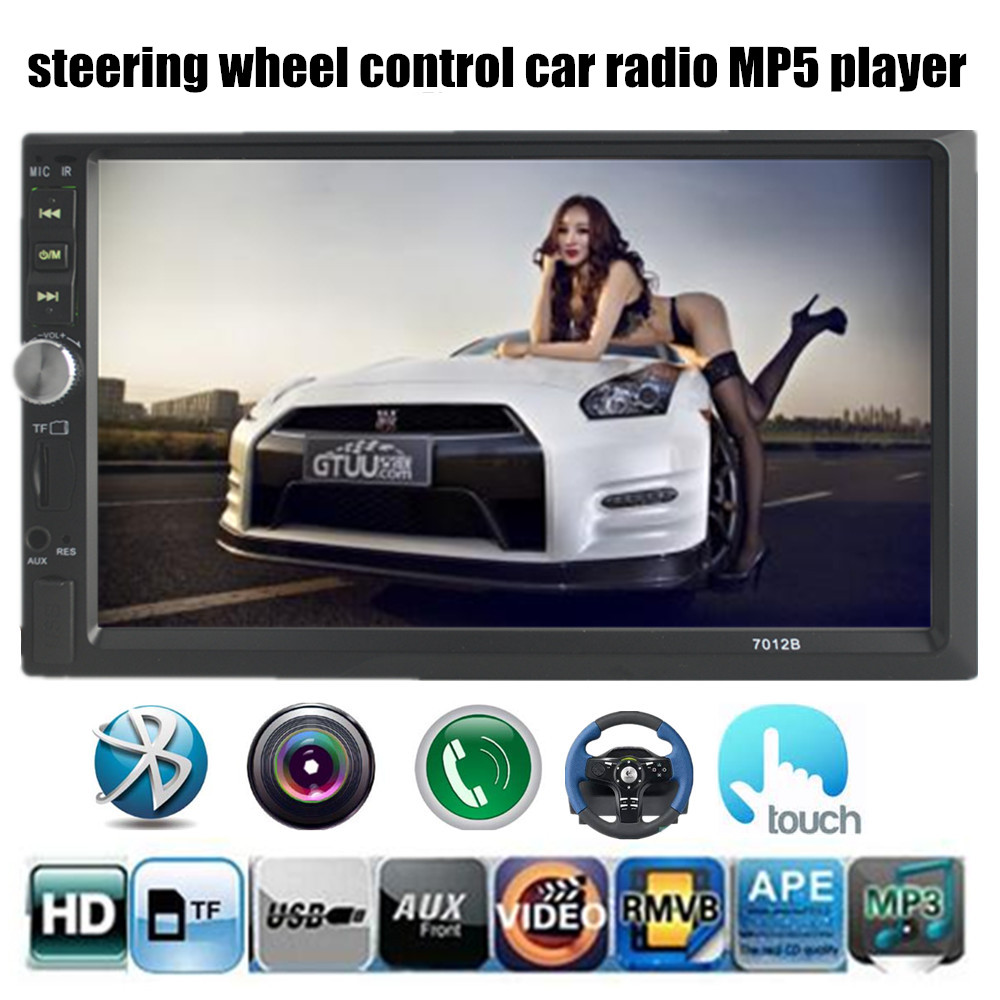 "Car Radio 2 Din stereo Double Din 7 ""Inch Rear Camera/USB/TF/FM/Auxin/touch screen/bluetooth/steering wheel control 4 languages(China (Mainland))"
