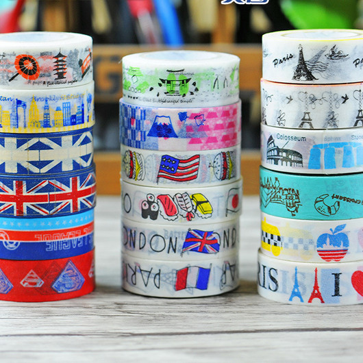 NEW Sale! Travel Series Washi Tape Kawaii Cake Candy Decorative Tapes Scrapbook Tools Cute Paper Crafts Washi Paper Adhesive