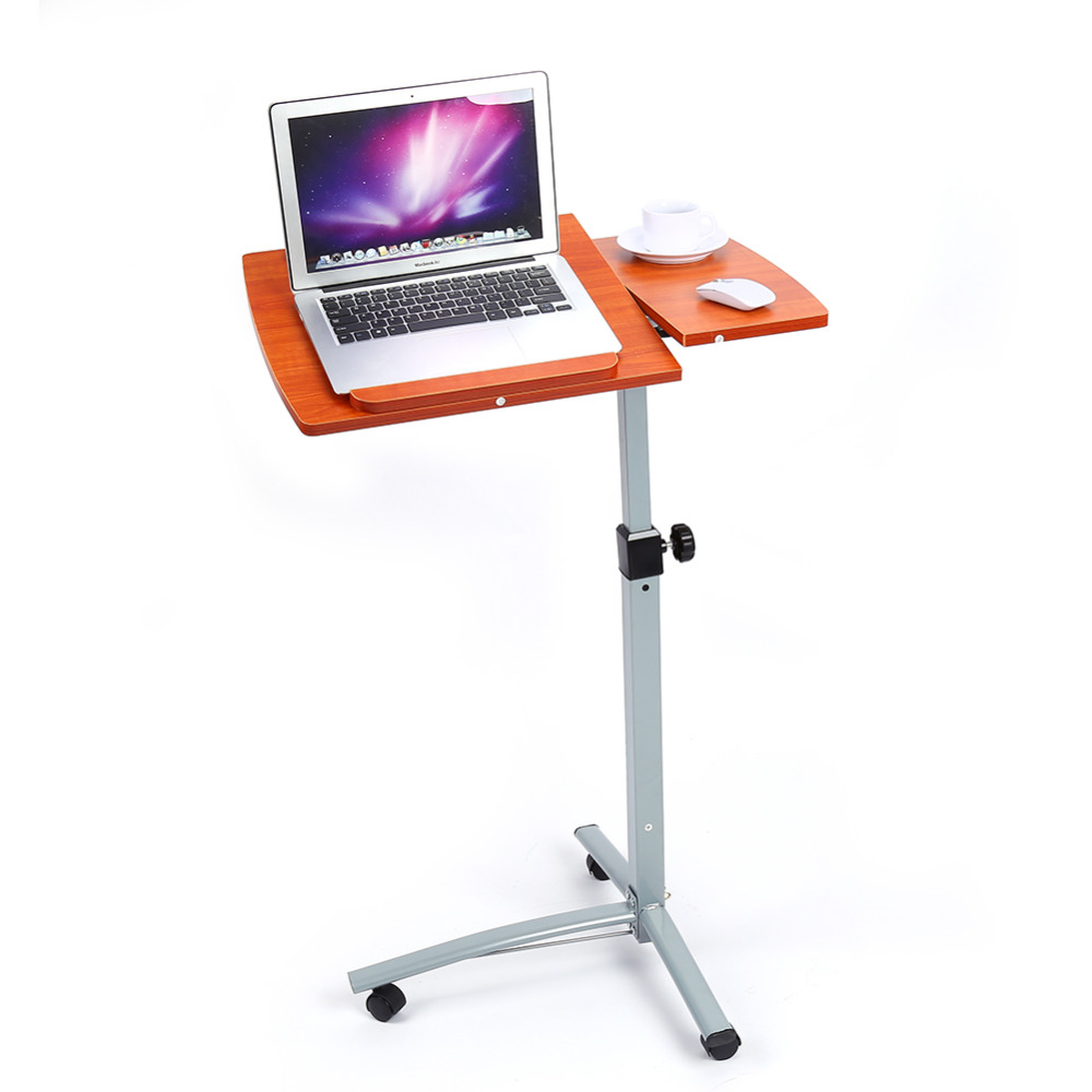 Angle Height Adjustable Portable Rolling Laptop Notebook Desk Over Sofa Bed Computer Table Stand Convenient Laptop Desk(China (Mainland))