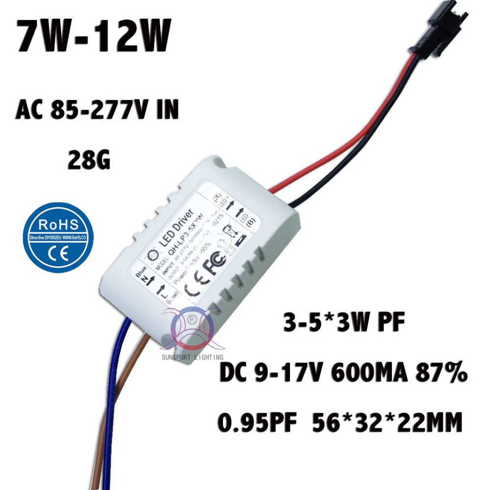 2 Pieces Isolation 7W-12W AC85-277V LED Driver 3-5x3W 600mA DC9-17V High PFC LED Power Supply Constant Current Free Shipping(China (Mainland))