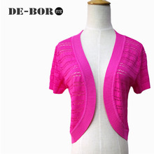 2015 New 5 Candy Colors Summer Style Short Sleeves Shrug Knitted Mesh Women Thin Design Cardigan Fashion Geometric Cropped Top(China (Mainland))