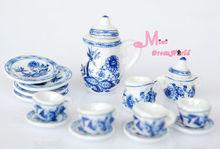 1/12 scare Dollhouse  Lot of 15 Blue Cornflower Porcelain Dollhouse Miniature Coffee Tea Cup Set  furniture(China (Mainland))