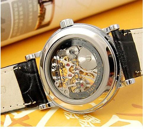 Мода Повседневная Марка Дизайн Мужчины Стимпанк Скелет Hollow Натуральная Кожа Круглый Циферблат Автоматическая Механическая Бизнес Наручные Часы