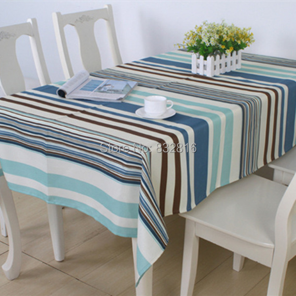 Cheap 100% Polyester Striped Printing Waterproof Table Cloth Rectangular Tablecloths Hotel Table Cover 135x185CM(China (Mainland))