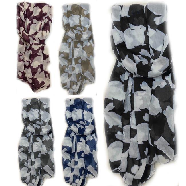 Fashion Ladies Chiffon Rabbit Printed Stole Scarf Large Neck Wrap Shawl Scarves Accessories(China (Mainland))