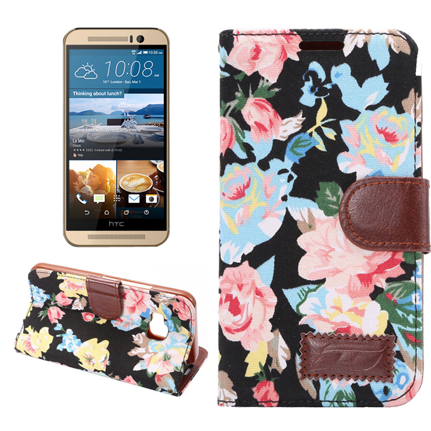 Flower Print Fabric + PU leather Case For HTC One M9 Wallet Card Holder stand Flip Phone Bags cover(China (Mainland))