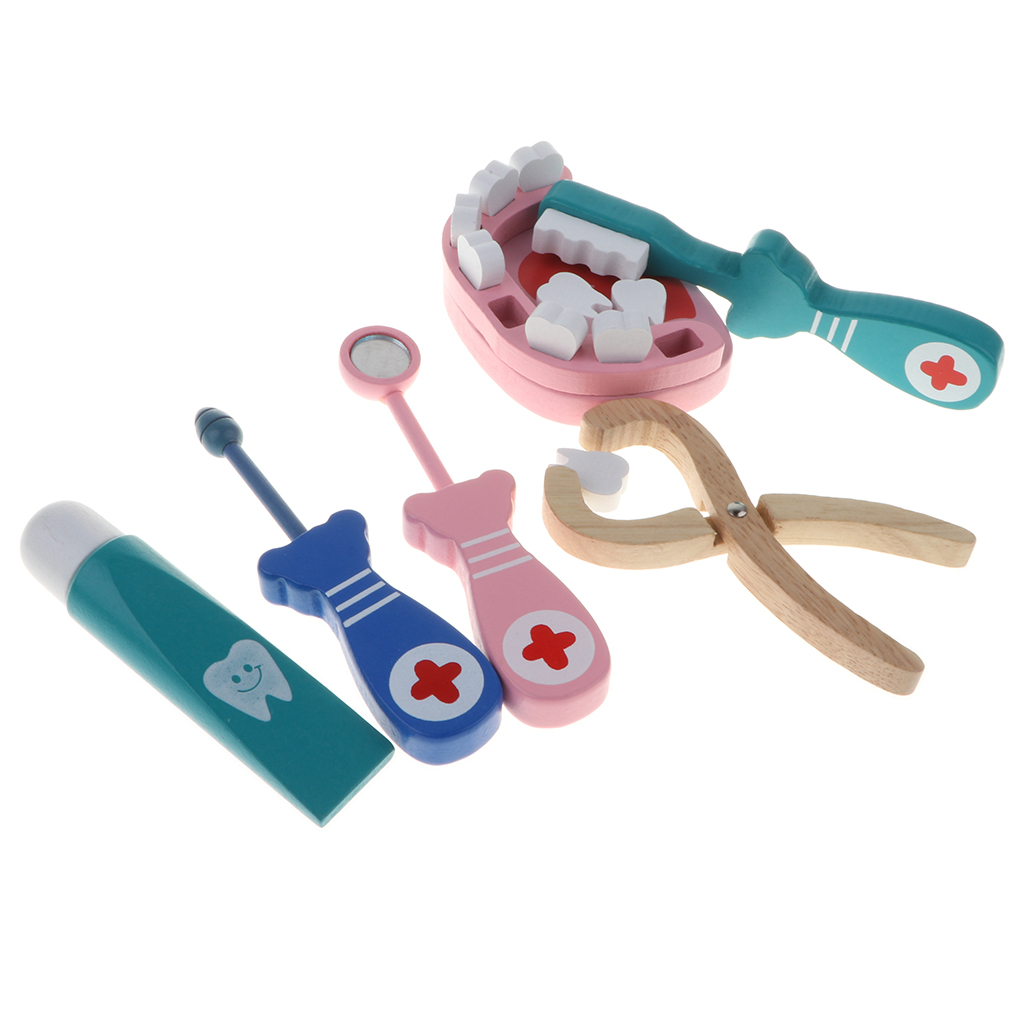 Fun Doctor & Nurse Medical Kit Toy Dentist Role Pretend Play Wooden Gadgets Tools Props Set Kids Gifts