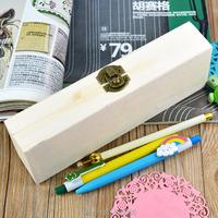 Handmade Wooden Pencil Box Pen Case Storage Organizer Gift Hollow White Base DIY Picture Art Decor 21x7x4cm